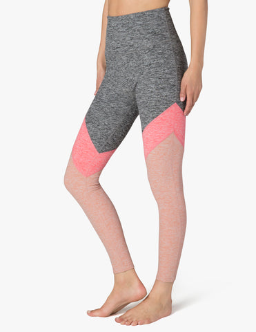 Tri-panel spacedye high waisted midi legging in pink shell