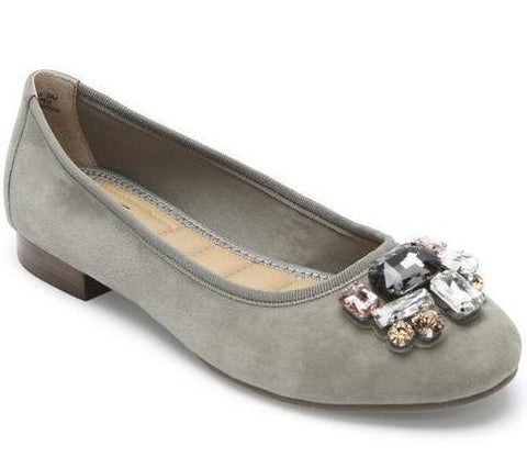 Sapphire embellished flats in stone