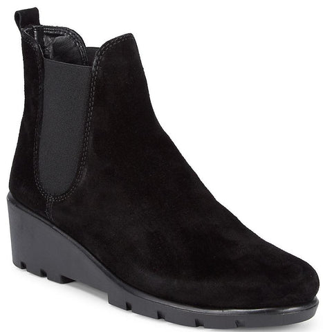 Slimmer black waterproof suede wedge booties
