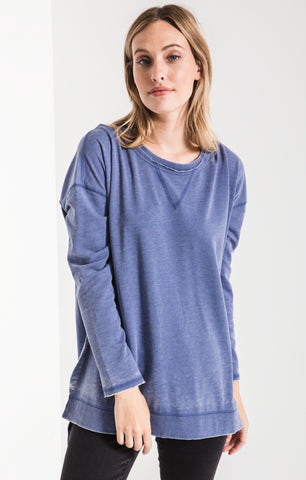 Weekender long sleeve top in coastal blue