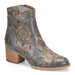 Westmont floral embroidered booties in denim