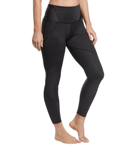 True to stripe high waisted midi leggings in black heather
