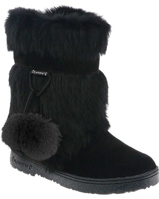 Tama fur trim boots in Black/Black
