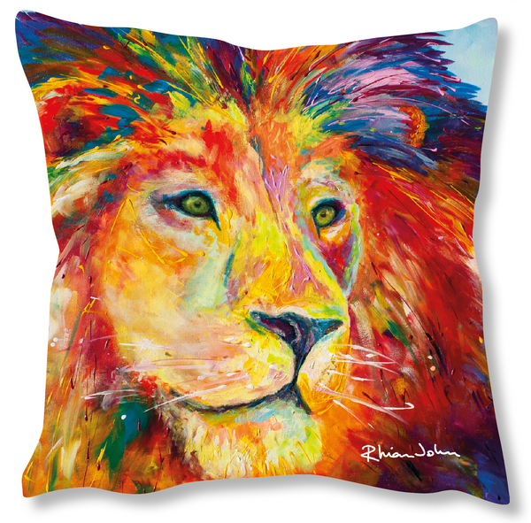 Faux Suede Art Cushion - Lion Pride