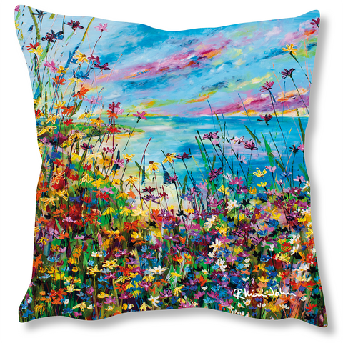 Faux Suede Art Cushion - Summer's Here