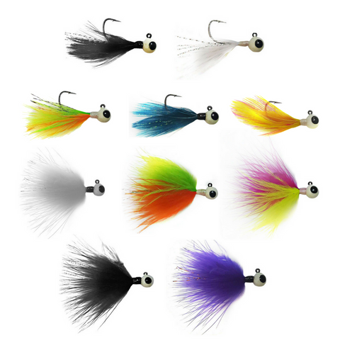 TUNGSTEN FEATHER/MARABOU MASTER SET (10 JIGS) - Kenders Outdoors
