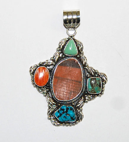 Ancient Ones Chief | Sterling Silver Pendant With Spiny Oyster, Turquoise & Artifact - Native Marvels
