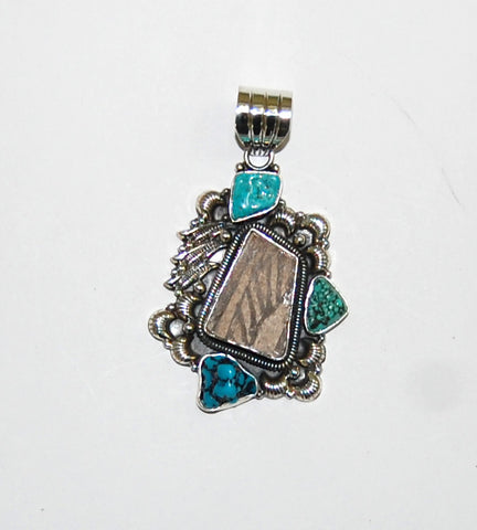 Ancient Ones Cliffs | Sterling Silver Pendant With Turquoise & Artifact - Native Marvels
