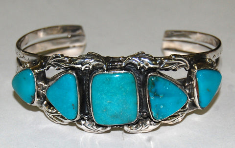 Collar Ocean | Sterling Silver Cuff With Turquoise - Native Marvels