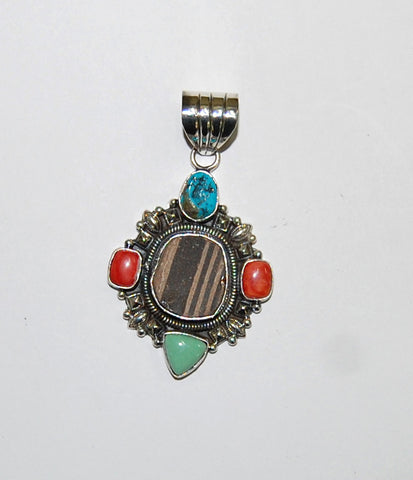 Ancient Ones Balance | Sterling Silver Pendant With Spiny Oyster, Turquoise & Artifact - Native Marvels