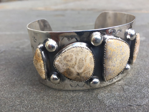 Ancient Soceity | Sterling Silver Cuff With Fossilized Coral - Native Marvels