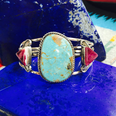 Celeste | Sterling Silver Arm Cuff With Turquoise & Spiny Oyster - Native Marvels