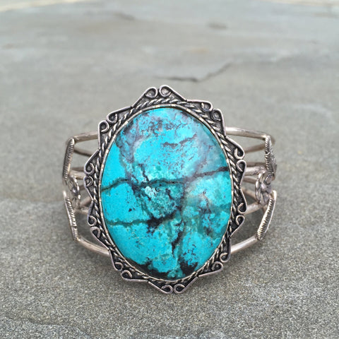 Crown Of Web | Sterling Silver Cuff Bracelet With Turquoise - Native Marvels