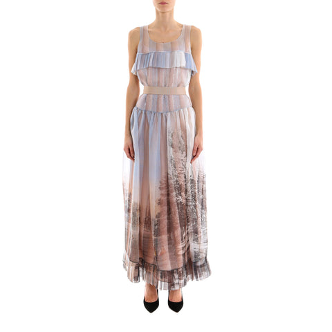 Fendi Royal Garden Print Voile Dress