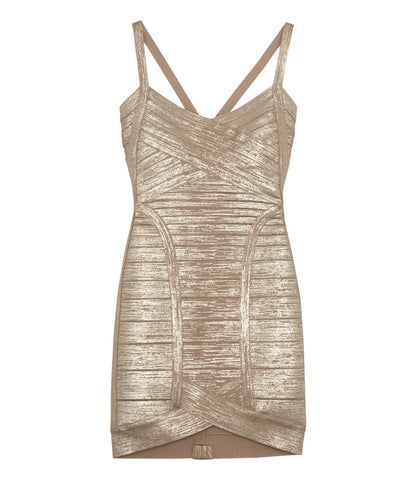 Herve Leger Woodgrain Foil Dress