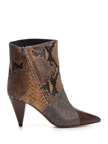 Isabel Marant Python Print Heel Ankle Boots