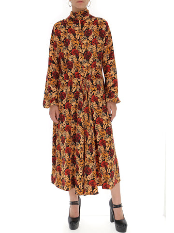 Prada Floral Print Cinched Waist Dress
