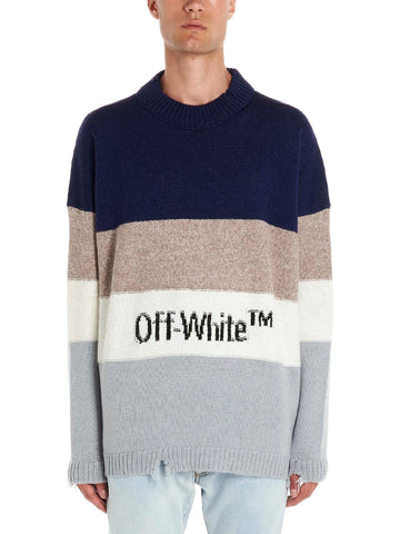 Off-White Logo Intarsia Striped Knitted Jumper