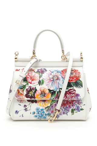 Dolce & Gabbana Floral Print Small Sicily Tote Bag