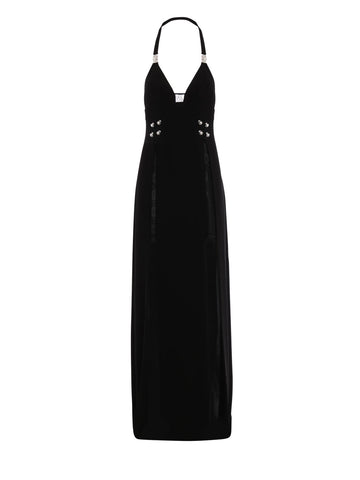 Versus Halterneck Side Split Maxi Dress