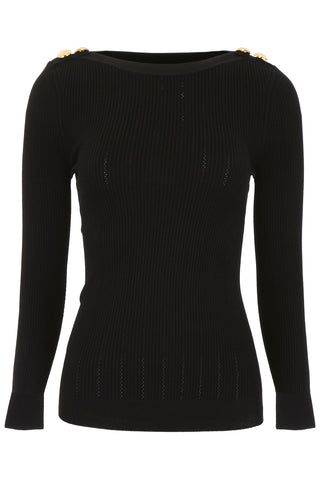 Balmain Button Embellished Knit Top