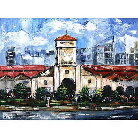 Ben Thanh Building Oil Painting 60x80 UNFRAMED
