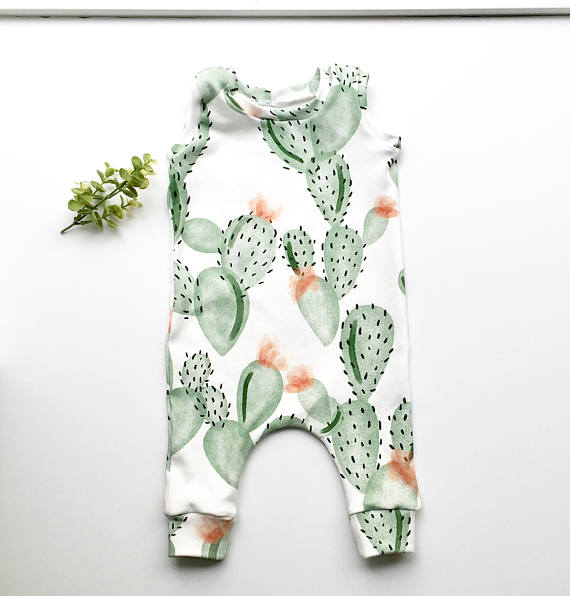 Newborn Toddler Baby Cartoon Cactus Boys Girls Bodysuit Jumpsuit Outfits Clothes - Your Baby's Closet