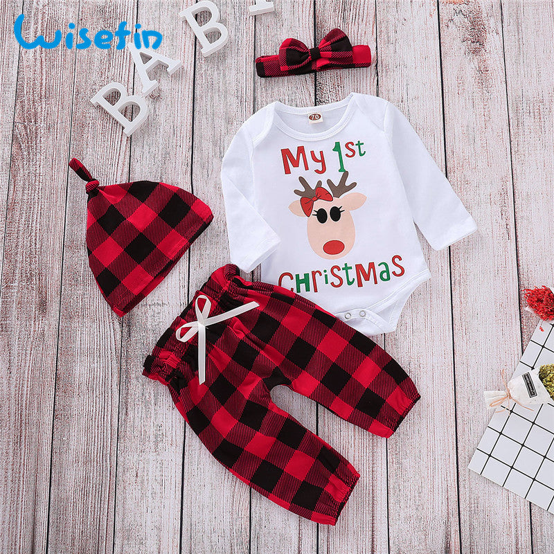 Wisefin Baby Girl Clothing Set First Christmas Plaid Newborn Clothes For Girl Cute 4 Pcs Infant Clothing Outfits Set Long Sleeve - Your Baby's Closet