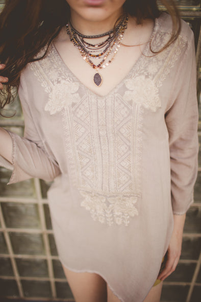 Taupe Embroidered Blouse
