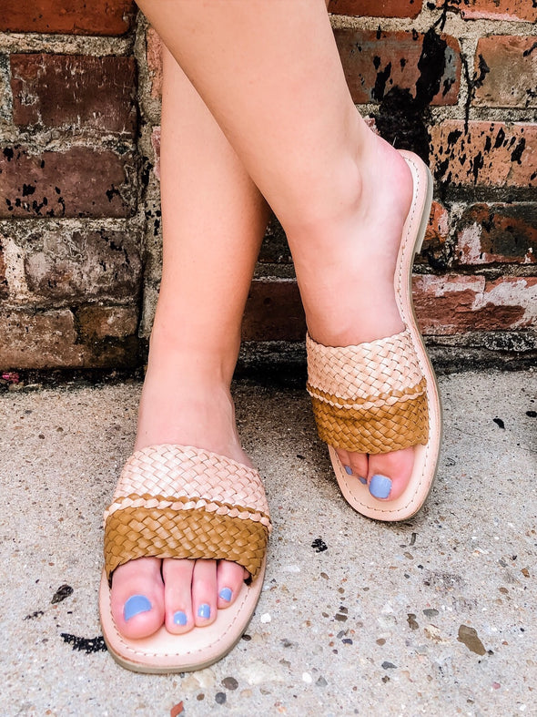 Seaside Color Block Woven Leather Sandal