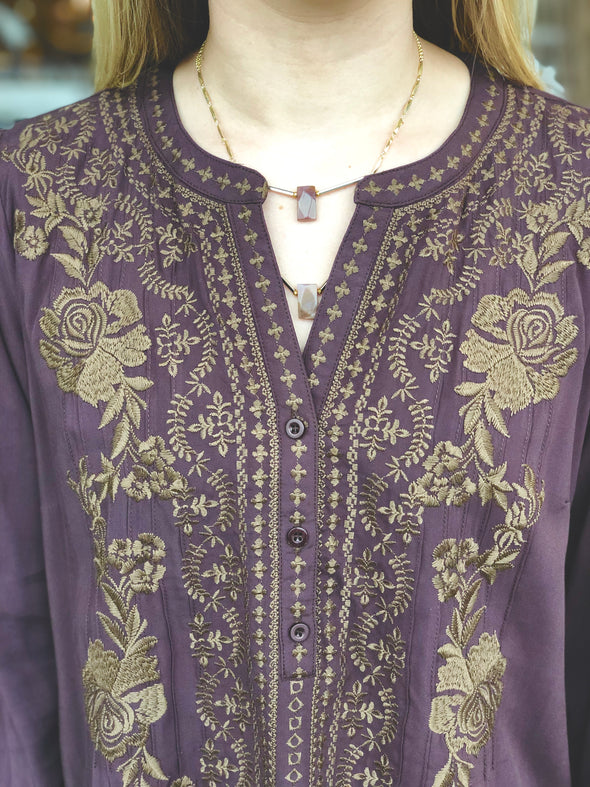 purple brown embrodiered blouse