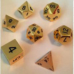 Dice Set - 7 Count 16Mm Gold Metallic - Boardlandia