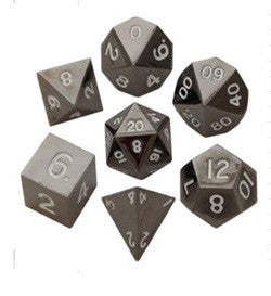 7 Count Metallic Poly Dice Set - Sterling Grey - Boardlandia