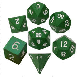 Dice Set - 7 Count 16Mm Painted Green Metallic - Boardlandia