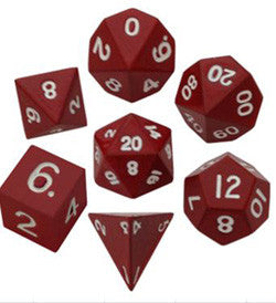 Dice Set - 7 Count 16Mm Painted Red Metallic - Boardlandia
