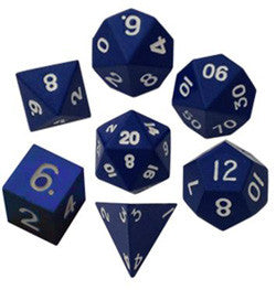 Dice Set - 7 Count 16Mm Painted Blue Metallic - Boardlandia
