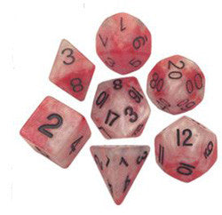 Dice Set - 7 Count 16Mm Red-White With Gold - Boardlandia