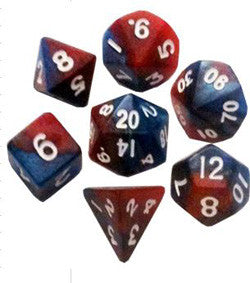 7 Count Mini Dice Set - Red And Blue With White Numbers - Boardlandia