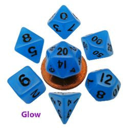 7 Count Mini Resin Glow Poly Dice Set - Blue - Boardlandia