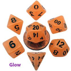 7 Count Mini Resin Glow Poly Dice Set - Orange - Boardlandia