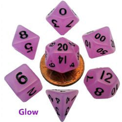 7 Count Mini Resin Glow Poly Dice Set - Purple - Boardlandia