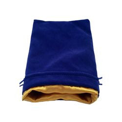 "Dice Bag - Blue Velvet With Gold Satin Lining 6"" X 8"" - Boardlandia"
