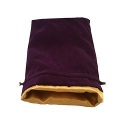 "Dice Bag - Purple Velvet With Gold Satin Lining 6"" X 8"" - Boardlandia"