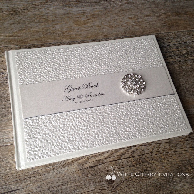 Ivory Pebbles Wedding Guest Book - White Cherry Invitations