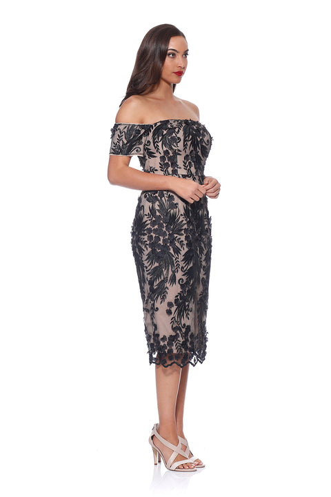 Romance Violet sleeve Dress in Black Lace RD174006