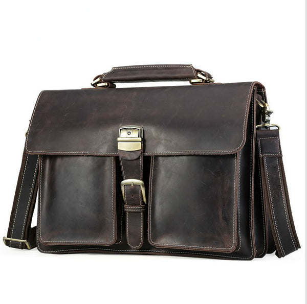 "Dark brown mens leather bag messenger bag Briefcase Satchel Tablet Ipad Next Book computer Laptop 16"" inches"