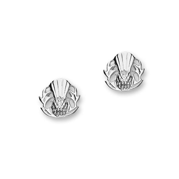 Silver Scottish Thistle Emblem Stud Earrings