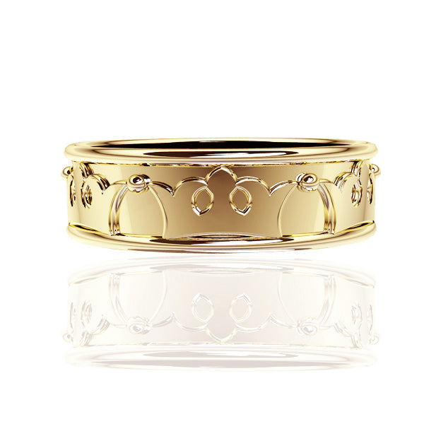 ROYAL EDINBURGH LUCKENBOOTH WEDDING RING IN YELLOW GOLD