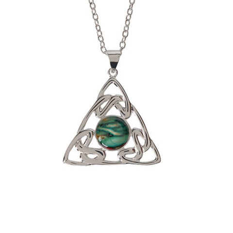 Heathergems Celtic Trinity Knotwork Pendant Necklace In Silver