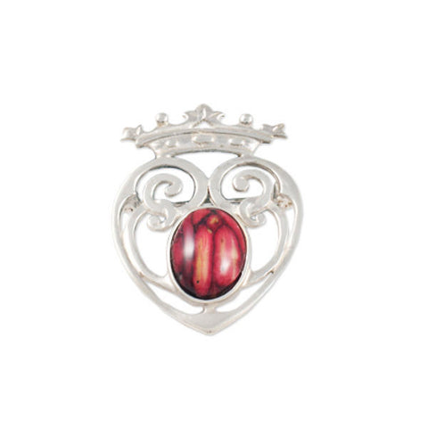 Heathergems Luckenbooth Heart Brooch In Silver